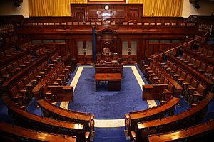 This is a photograph of the Dáil chamber, Lein...