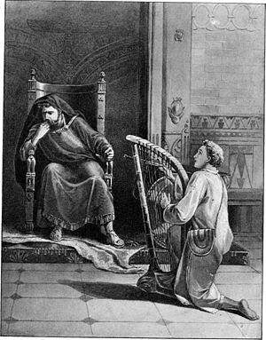 DAVID PLAYING THE HARP BEFORE KING SAUL.—1 Sam...