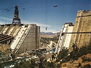 Shasta Dam under construction, California; edi...