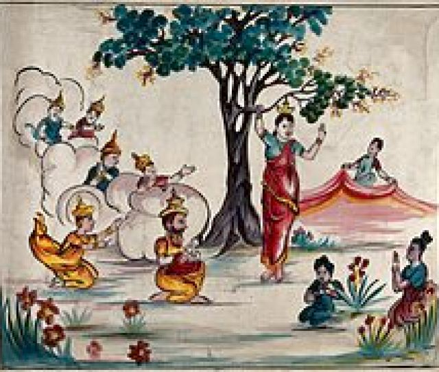 Queen Maya Holds Onto A Branch Of A Tree While Giving Birth To The Buddha Who Is Received By Sakra As Other Gods Look On