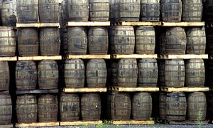 English: Whisky barrels in the Kilbeggan Disti...