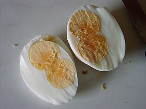 Hardboiled double-yolked eggs