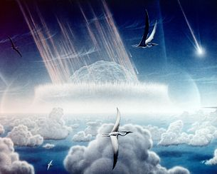 This painting by Donald E. Davis depicts an asteroid slamming into tropical, shallow seas of the sulfur-rich Yucatan Peninsula in what is today southeast Mexico. The aftermath of this immense asteroid collision, which occurred approximately 65 million years ago, is believed to have caused the extinction of the dinosaurs and many other species on Earth. - public domain (NASA)