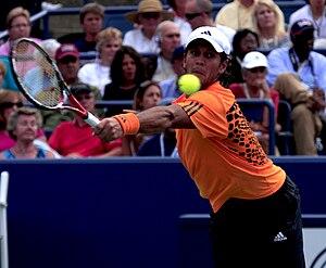 Fernando Verdasco volleys in winning match aga...