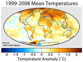 Anomali temperatur permukaan rata-rata selama periode 1995 sampai 2004 dengan dibandingkan pada temperatur rata-rata dari 1940 sampai 1980