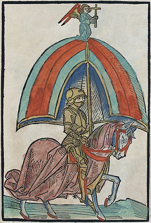 English: Illustration of a knight in Gothic ar...