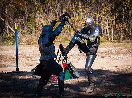 Louisiana Renaissance Festival Kights Combat with Axe and Sword
