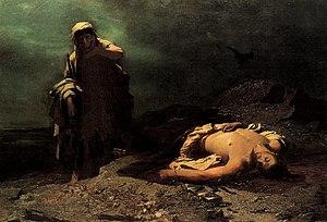 Nikiforos Lytras, Antigone in front of the dea...