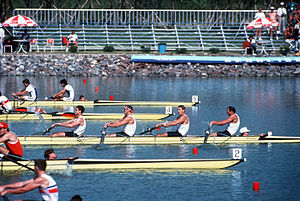 English: US Olympic rowing team vie for the go...