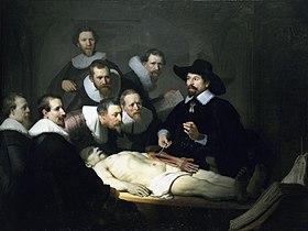 Realismo: Lección de anatomía del Dr. Nicolaes Tulp (1632), de Rembrandt, Mauritshuis, La Haya.
