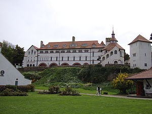 English: Photograph of Caldey Island Abbey, Pe...