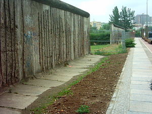 a preserved part of the Berlin Wall at the wal...