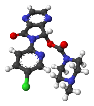 Ball-and-stick model of the (S)-zopiclone (esz...