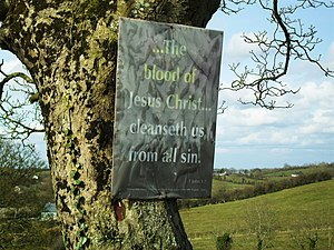 English: Gospel message at Drumderg The placar...
