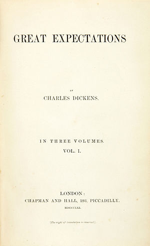"Title page of first edition of ""Great Exp..."