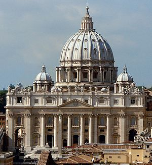 St. Peter's Basilica in Rome seen from the roo...