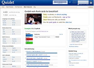 screenshot of quizlet home page