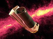 El Telescopio Espacial Spitzer con la Vía Láctea en el fondo brillando en el infrarrojo