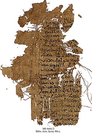 English: Papyrus fragment of the 9th century w...