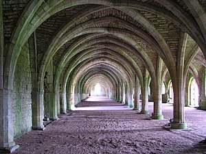 Vaulted Monks' refectory, Fountains Abbey, Yor...