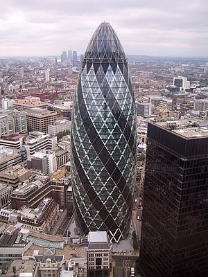 30 St Mary Axe is a skyscraper in London's mai...