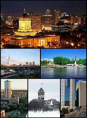 English: A montage of Winnipeg. The Legistlati...