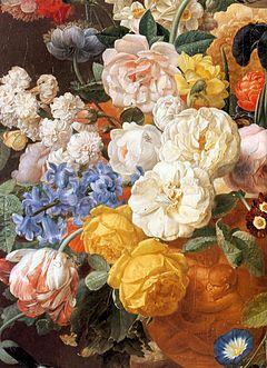Eliaerts, Jan Frans - Bouquet of Flowers in a Sculpted Vase (detail) - 19th c