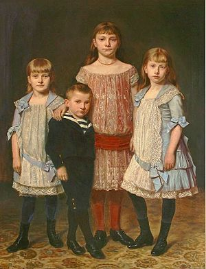 Four siblings in their Sunday clothes, late 19...