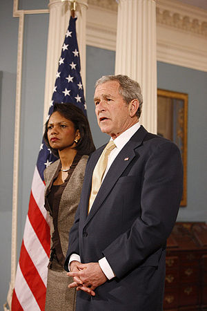 President George W. Bush with U.S. Secretary o...