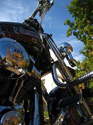 English: Low angle of a Harley Davidson motorc...