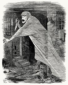 A phantom brandishing a knife floats through a slum street
