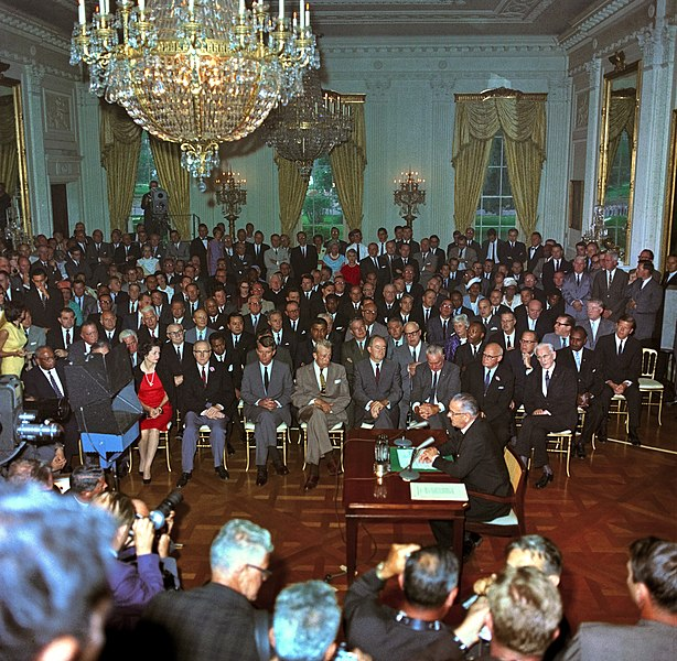 Teleprompter in use:  LBJ addresses the nation prior to signing the Civil Rights Act of 1964, on July 2, 1964 - LBJ Library and Museum photo