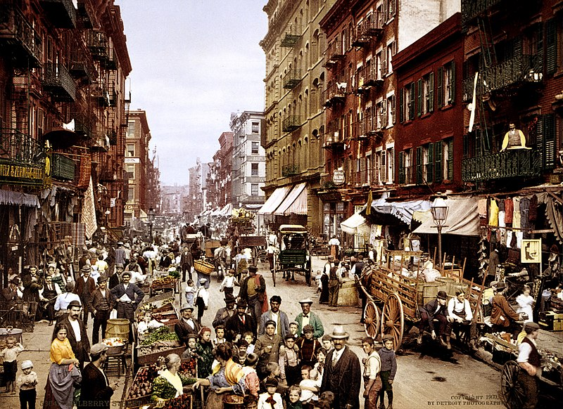 Mulberry Street NYC ca.1900. edit of Image:Mul...