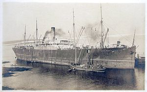 Postcard picture of SS mount temple aground at...