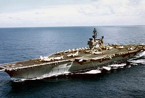 The U.S. Navy aircraft carrier USS Constellati...