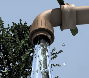 Water flows from a faucet under a gen3 quaking...
