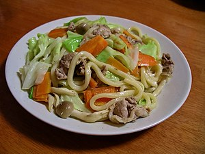 Yaki udon, stir-fried Japanese udon noodles in...
