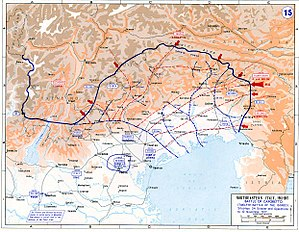 Map of the Italian Front, Battle of Caporetto.