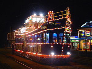 Illuminated trawler tram at Blackpool