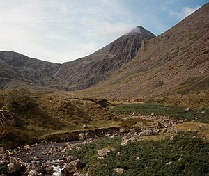 Carrantuohill (center) looking south along the...