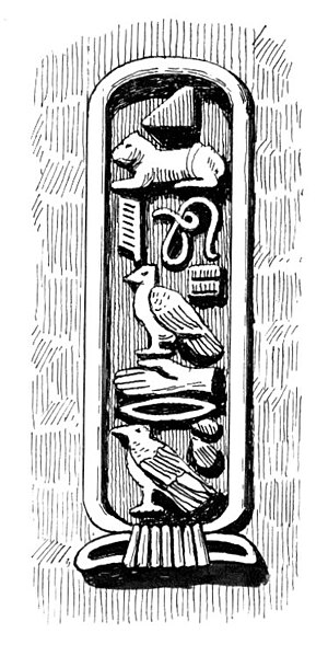 "Line art drawing of cartouche, reading ""C..."