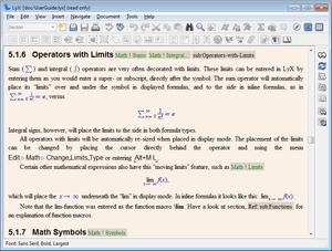 Screenshot of LyX 1.5
