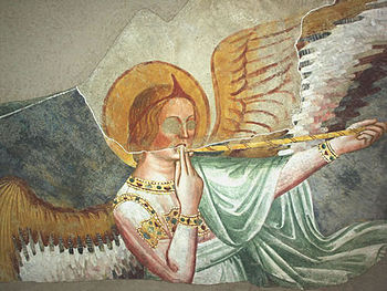 Angel with trumpet.