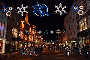 English: Merry Christmas Briggate, Leeds