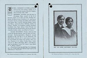 Memorial card for Herbert and Ellen Davies, hu...