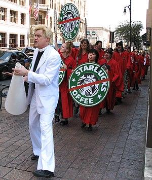 The Reverend Billy leading an anti-Starbucks p...