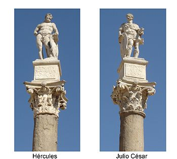Columns with statues of Hercules and Julius Cesar