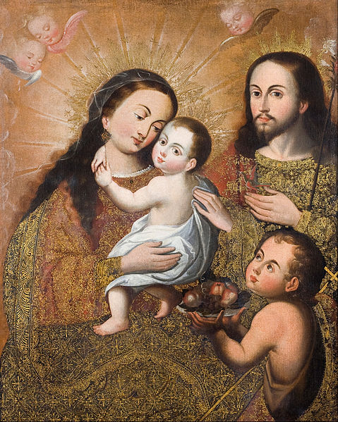 File:Anonymous Cusco School - Holy Family with Saint John and a Goldfinch - Google Art Project.jpg