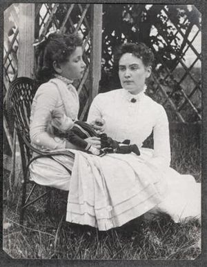 1888 photo of Helen Keller holding a doll. Wit...