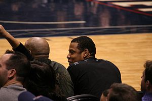Rapper Jay-Z at a New Jersey Nets game.